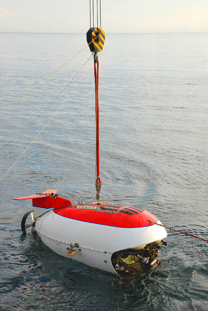 Scientific submarine at expedition researching deep water