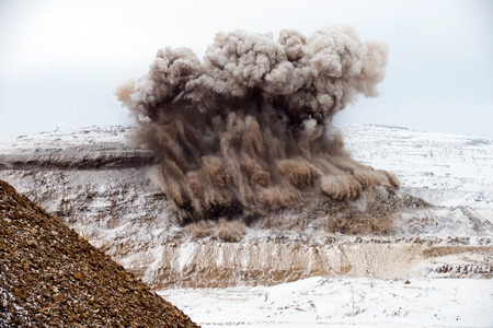 heavy snow: Explosive works on open pit
