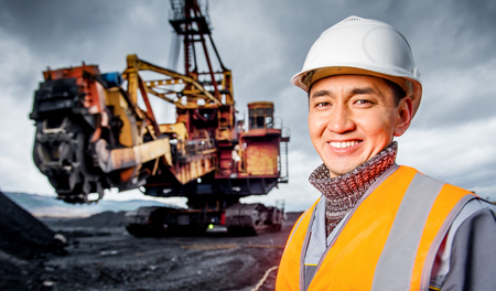 Coal mining worker Stock Photo
