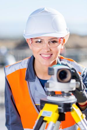 Surveyor with theodolite level Stock Photo