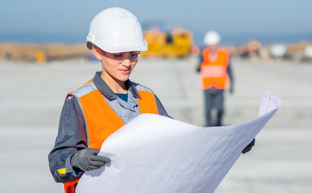 worker plan engineer Stock Photo