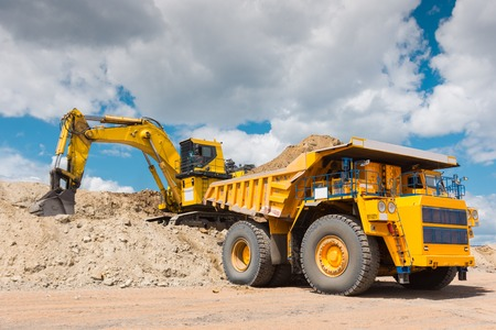 moving truck: Coal mining in open pit Stock Photo