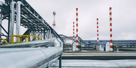 oil pipe plant natural gas station equipment Stock Photo