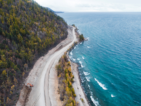 aerial view road shore