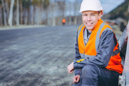 male worker road construction Stock Photo