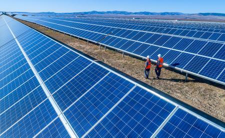 Vista del panel de electricidad verde de la estación de energía solar