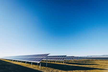 electricity export: Solar power station green electricity panel view