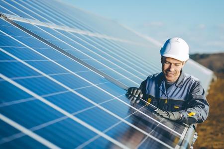 zonne-energiecentrale Stockfoto