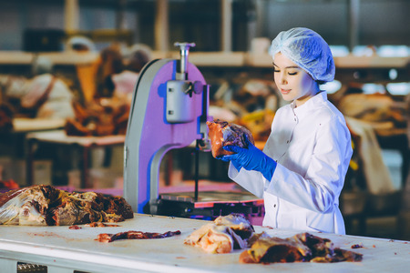 Raw meat production factory worker