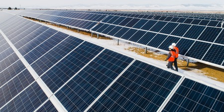 solar power station worker Stock Photo