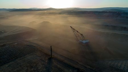 Coal mining in open pit 免版税图像