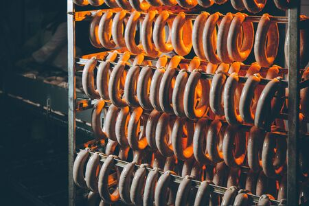 sausage factory smoked plant meat hang red