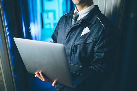server data network center internet man connection engineer support