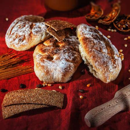 three fresh bread Stock Photo