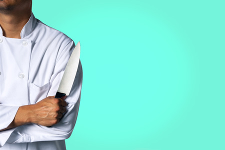 Chef with a knive background with space for text Stok Fotoğraf