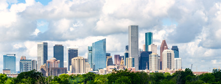 Houston texas skyline cityscape view from north east side of town