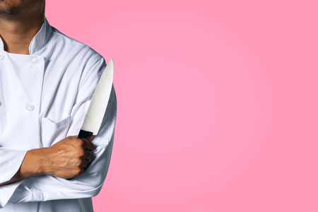 Chef with a knive background with space for text 版權商用圖片