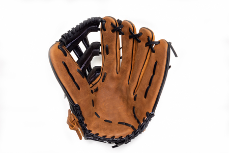 Baseball glove on white background opened up.