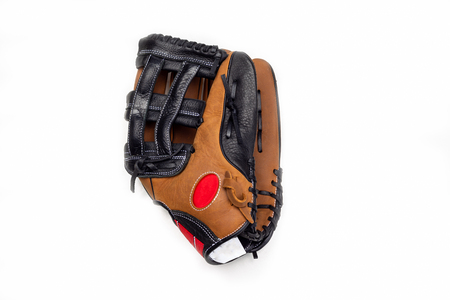Baseball glove on white background closed and side view. 版權商用圖片