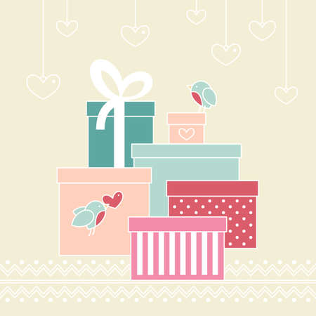 Holiday Card with Gift Boxes Vector