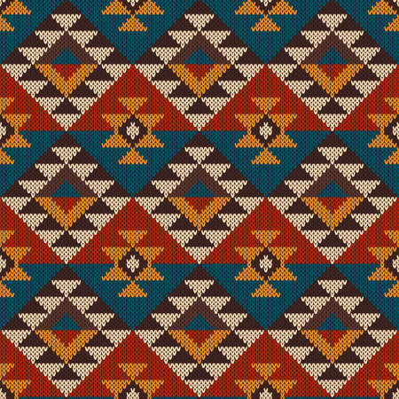 fabric art: Seamless tribal knitted wool aztec design pattern