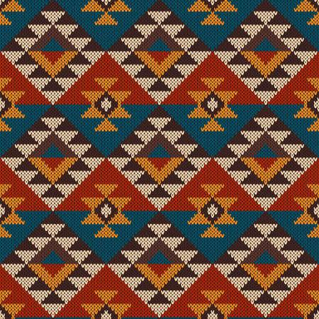 wool: Seamless tribal knitted wool aztec design pattern