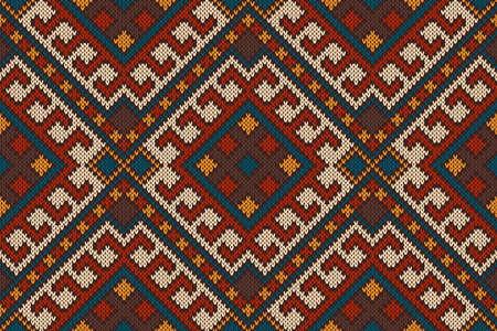 Seamless Tribal Knitted Wool Aztec Design Pattern Royalty Free