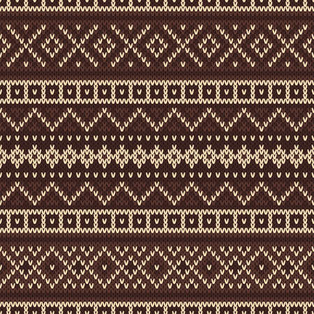 Nordic traditional Fair Isle style seamless pattern on the wool knitted texture Vector