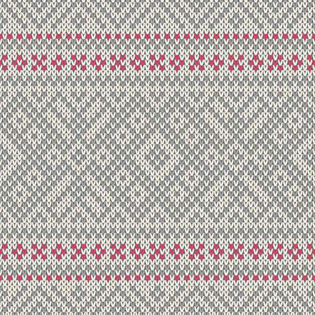 Nordic seamless pattern on the wool knitted texture Illustration