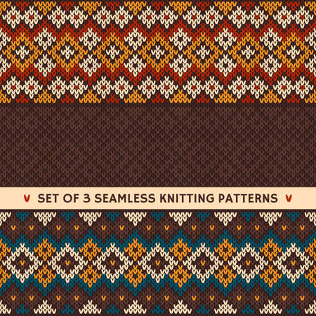 fair isle: Set di 3 modelli senza soluzione sulla lana tessuto a maglia in tradizionale stile Fair Isle