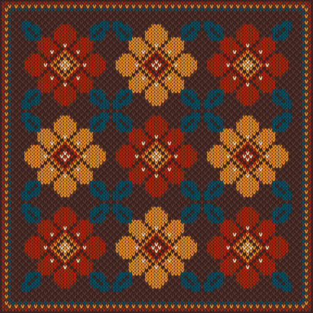 Seamless pattern with flowers on the wool knitted texture