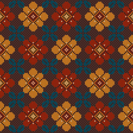 Colorful seamless pattern with flowers on the wool knitted texture.