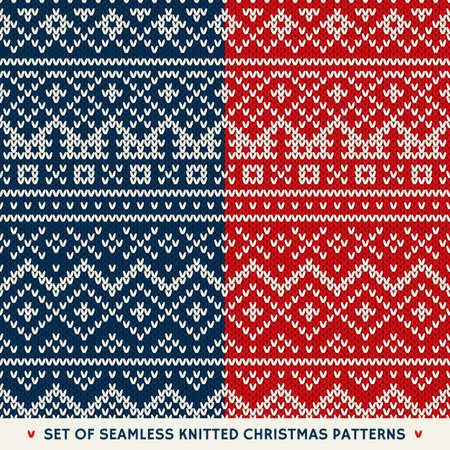 fair isle: Set of 2 Winter Holiday Seamless Patterns Illustration