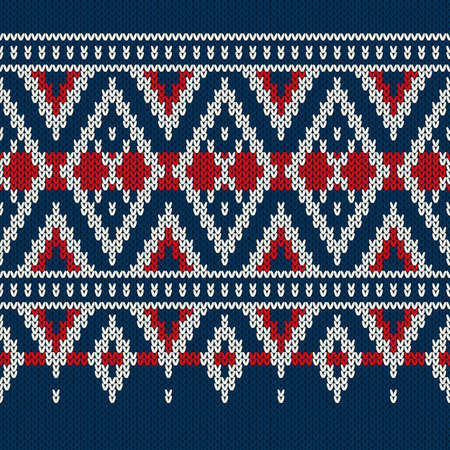 Vintage Style Winter Holiday Seamless Knitted Pattern Vector