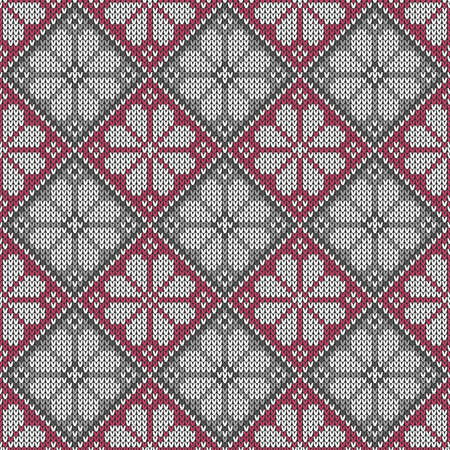 Knitted seamless pattern in traditional Fair Isle style Ilustração