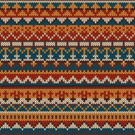 Knitted seamless pattern in traditional Fair Isle style 矢量图像