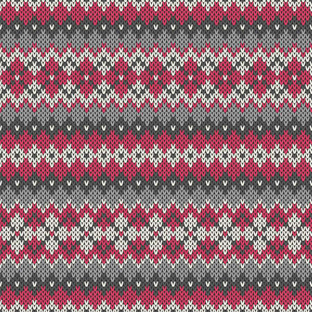 Knitted seamless pattern in traditional Fair Isle style  イラスト・ベクター素材