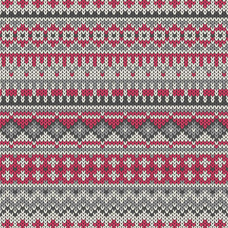 Knitted seamless pattern in traditional Fair Isle style Иллюстрация