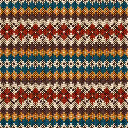 Knitted seamless pattern in traditional Fair Isle style Stock Illustratie