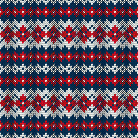 Knitted seamless pattern in traditional Fair Isle style Vector