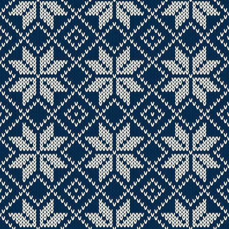 fair isle: Seamless pattern ornament on the wool knitted texture. EPS available