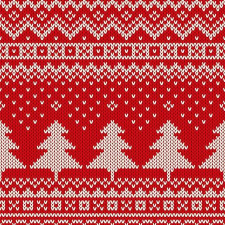 シームレスな冬休日ニット パターン。クリスマスの背景