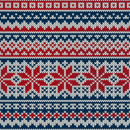 Winter Holiday Seamless Knitted Pattern Vectores