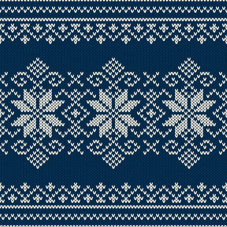 Winter Holiday sweater design on the wool knitted texture. Seamless pattern Vector