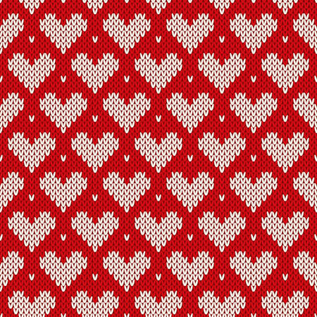 Seamless knitted pattern with hearts. Valentine\ Vector