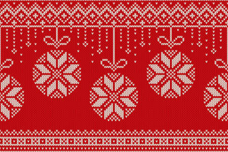 Winter Holiday Seamless Knitting Pattern. Christmas and New Year vector seamless background  イラスト・ベクター素材