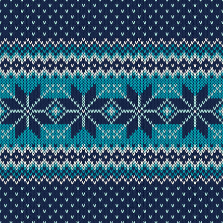 Seamless Fair Isle Knitted Pattern. Festive and Fashionable Sweater Design  イラスト・ベクター素材