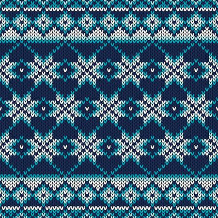 fair isle: Senza soluzione di continuit� Fair Isle Reticolo lavorato a maglia. Festive e alla moda del maglione di disegno Vettoriali