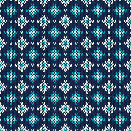 Seamless Fair Isle Knitted Pattern. Festive and Fashionable Sweater Design Illustration