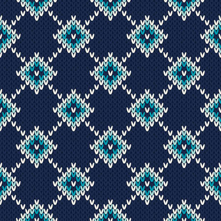 Seamless Fair Isle Knitted Pattern. Festive and Fashionable Sweater Design Vectores